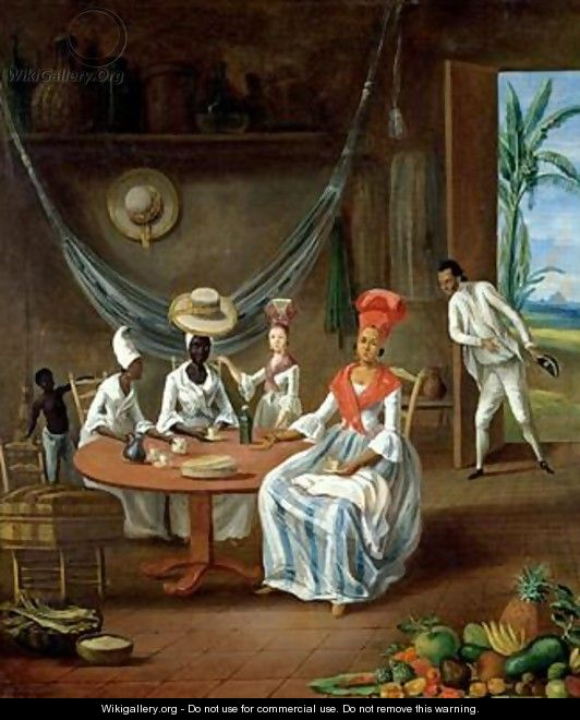 A Mulatto Woman with her White Daughter Visited by Negro Women in their House in Martinique - Le Masurier