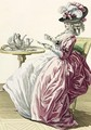 Elegant Woman in a Dress a lAnglaise Drinking Coffee - (after) Le Clerc, Pierre Thomas