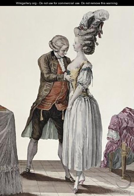 A tailor trying out a fashionable corset on a lady - (after) Le Clere