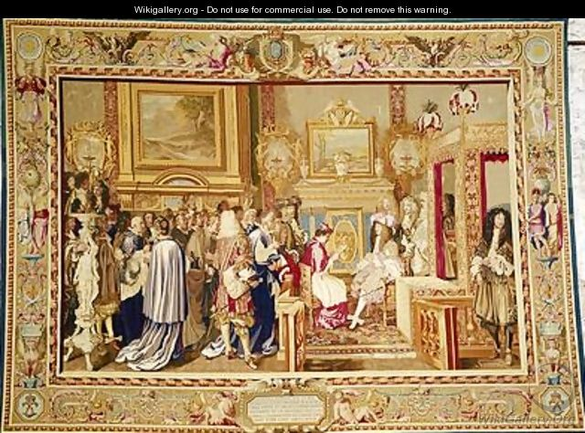 The Audience of Cardinal Chigi with Louis XIV 1638-1715 at Fontainebleau - (after) Le Brun, Charles