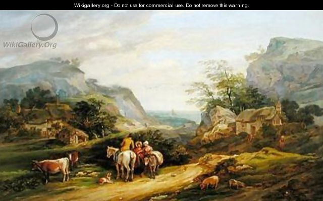 Landscape with figures and cattle - James Leakey