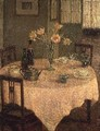 Interior with a Pink Tablecloth - Henri Eugene Augustin Le Sidaner