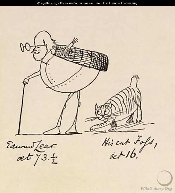 Edward Lear Aged 73 and a Half and His Cat Foss Aged 16 - Edward Lear