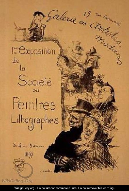 Reproduction of a poster advertising The Society of Lithography Painters Exhibition at the Gallerie des Artistes Modernes - Charles Leandre