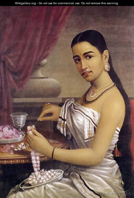 Lady with Flower Garland - Raja Ravi Varma