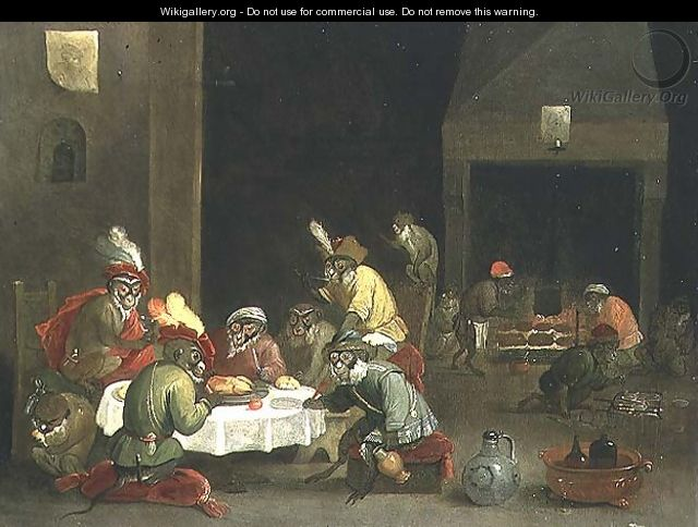 Monkeys in a Guard Room Interior - Ferdinand van Kessel