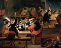 Monkeys in a Tavern detail of the card game - Ferdinand van Kessel