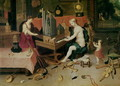 Allegory of Hearing detail of an organist - (attr. to) Kessel, Jan van