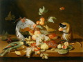 Grapes and Peaches Spilling from an Overturned Delft Bowl - (attr. to) Kessel, Jan van