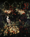 Swags of fruit with flowers round a cartouche with a sulpher crested cockatoo - (attr. to) Kessel, Jan van