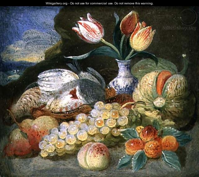 Still Life with Fruit and Parrot Tulips in a Vase - Jan Thomasz. van Kessel