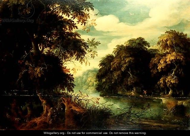 Forest landscape with birdcatchers beside a river - Alexander Keirincx