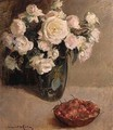 Still Life of Roses and Cherries - A. van der Kelen