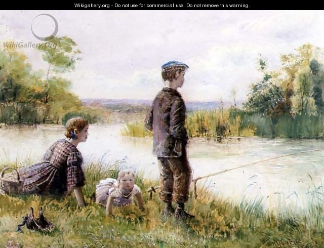 Children fishing by a stream - George Goodwin Kilburne