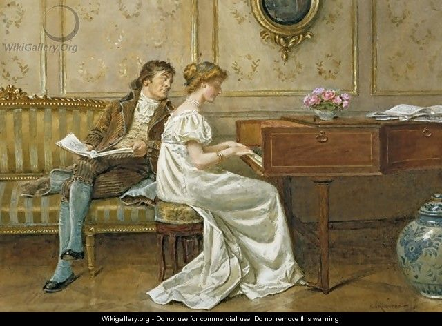 The New Spinet - George Goodwin Kilburne