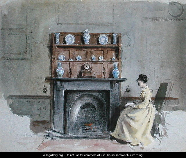 Lady Seated by Fireplace - George Goodwin Kilburne