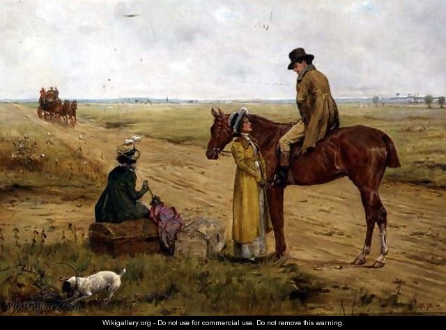Waiting for the Stage Coach - George Goodwin Kilburne