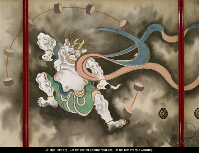 Sliding doors depicting a thunder god Late Edo - Suzuki Kiitsu