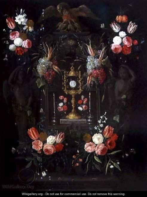 A Chalice with the Eucharist in a cartouche decorated with flowers and fruit - Jan van Kessel