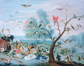 Tropical birds in a landscape - Jan van Kessel