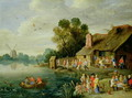 River Landscape with Gentry at a Village Inn - Jan van Kessel