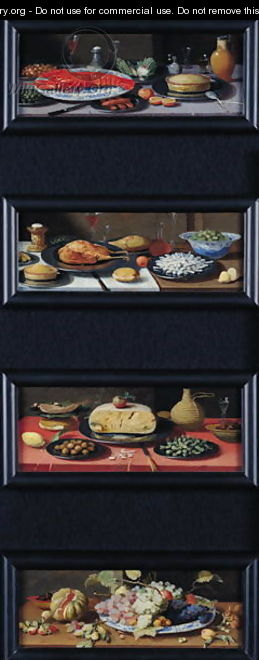 Four Still Lives of Food and Fruit - Jan van Kessel