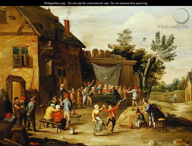 Wedding Feast in the Courtyard of a Village Inn - Jan van Kessel