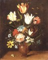 Tulips roses pinks and other flowers in a vase - Jan van Kessel