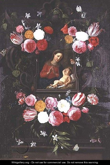 The Virgin and Child in a cartouche - Jan van Kessel