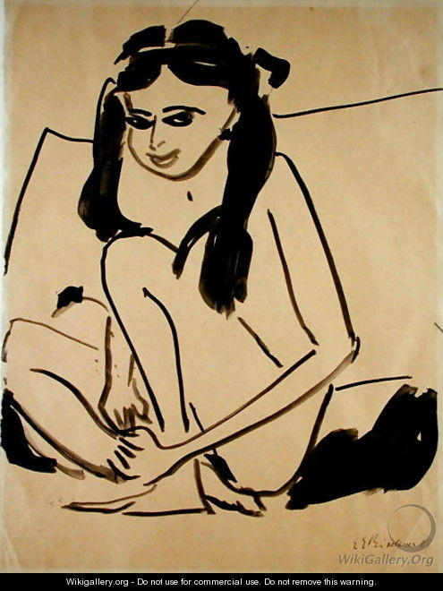 Crouching Nude Girl - Ernst Ludwig Kirchner