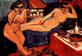 Two Nudes on a Blue Sofa - Ernst Ludwig Kirchner