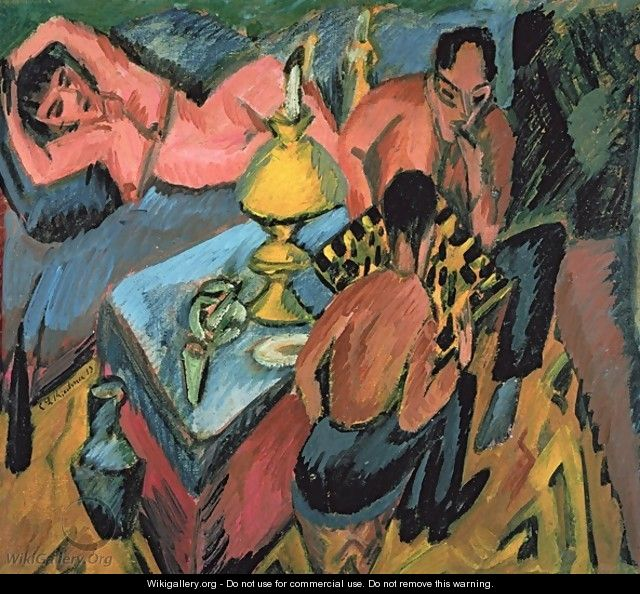 Otto Muller 1874-1930 Playing Chess - Ernst Ludwig Kirchner