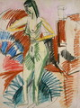 Standing Female Nude in a Tub - Ernst Ludwig Kirchner