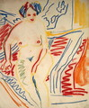 Sitting Nude with Blue Hair - Ernst Ludwig Kirchner