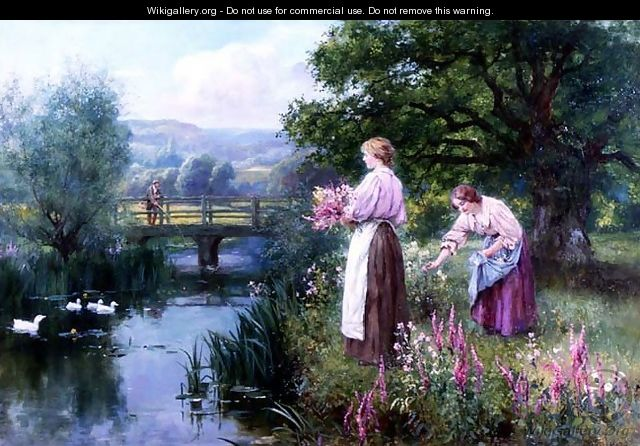 Girls Collecting Flowers - Henry John Yeend King