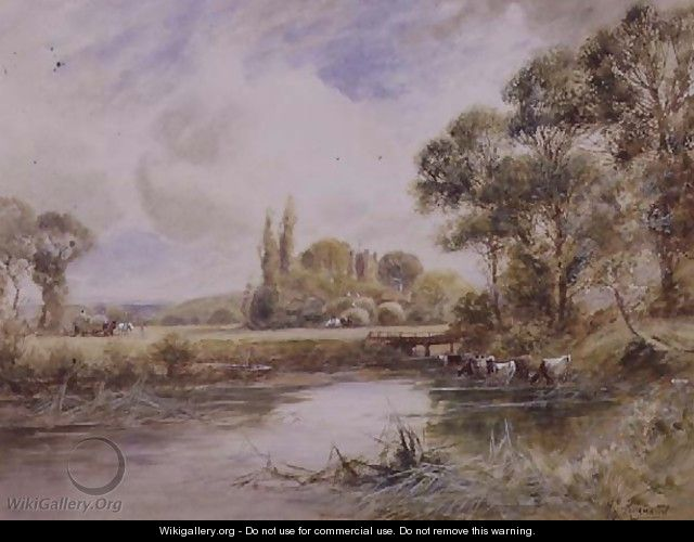 Landscape with Meadows and Cattle Drinking - Henry John Kinnaird