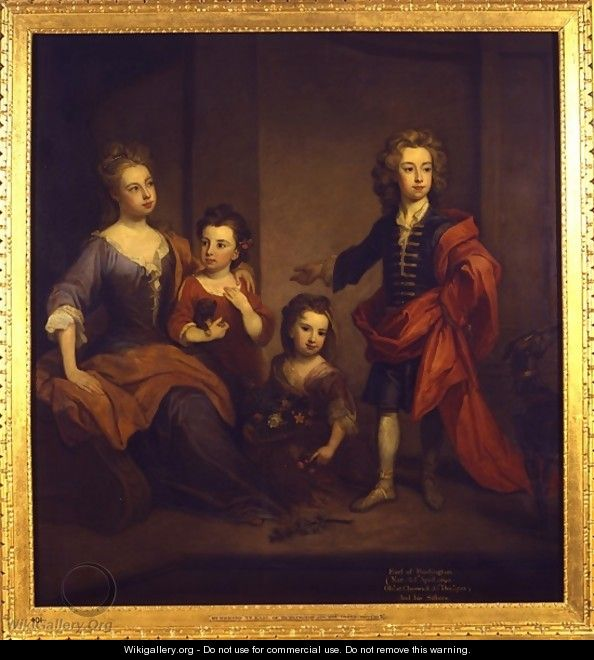 Portrait of Richard Boyle 3rd Earl of Burlington with his three sisters Elizabeth Juliana and Jane Boyle - Sir Godfrey Kneller
