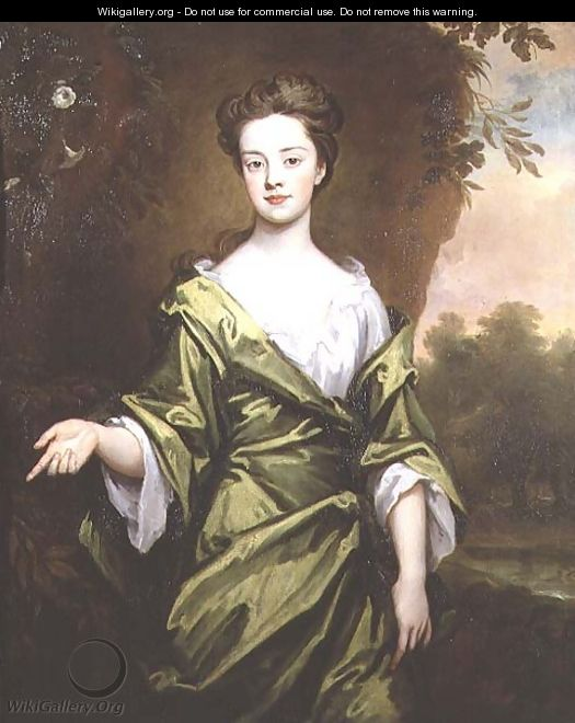 Portrait of a Girl in Green probably a marriage portrait - Sir Godfrey Kneller