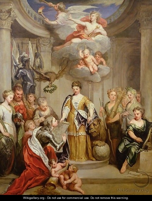Queen Anne presenting plans of Blenheim to military Merit - Sir Godfrey Kneller