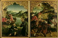Stories of SS Peter and Paul altarpiece detail showing L to R Vocation of St Peter Conversion of St Paul - Hans von Klumbach