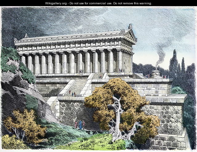 Temple of Diana at Ephesus from a series of the Seven Wonders of the Ancient World - Ferdinand Knab