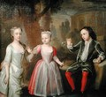 The Second Earl of Egmont and his Sisters in a Landscape - George Knapton