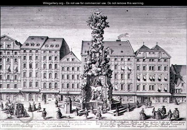 View of the Pestsaule the Plague Column commissioned by Emperor Leopold I to commemorate Viennas deliverance from the plague of 1679 devised by the Jesuits and executed by Matthias Rauchmiller Lodovico Burnacini and Johann Bernhard Fisher von Erlach - (after) Kleiner, Salomon