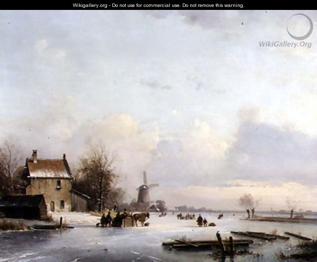 Skaters on a Frozen River - Laurens Johannes Kleijn