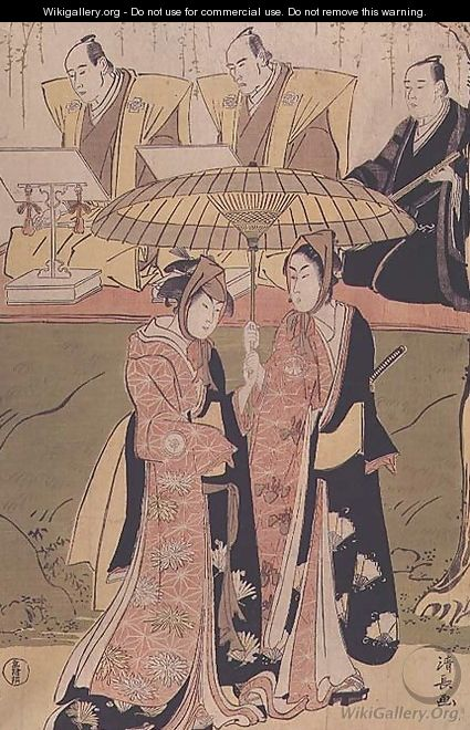 Kabuki scene with part of the chorus two young lovers leave the stage by the flower route - Torii Kiyonaga