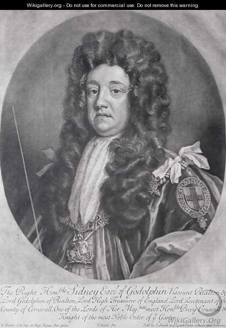 Portrait of Sidney Godolphin 1645-1712 1st Earl of Godolphin - (after) Kneller, Sir Godfrey