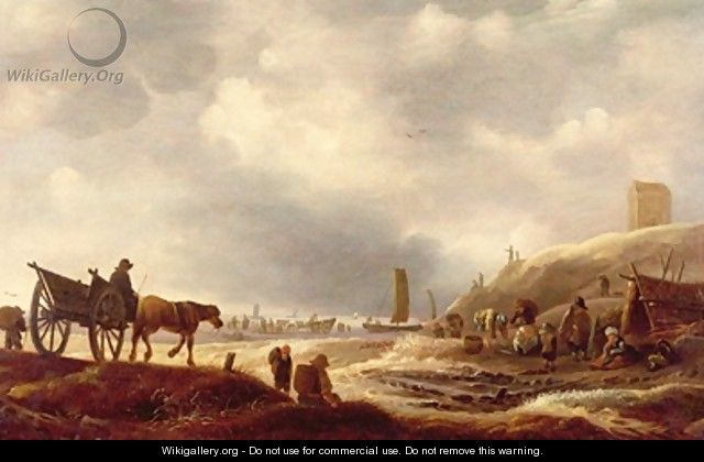 Fishermen displaying their catch in the dunes a beach beyond - Willem Kool or Koolen