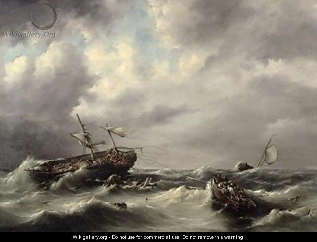 A Storm at Sea - Hermanus Koekkoek