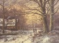 Figures on a path before a village in winter - Johannes Hermann Barend Koekkoek