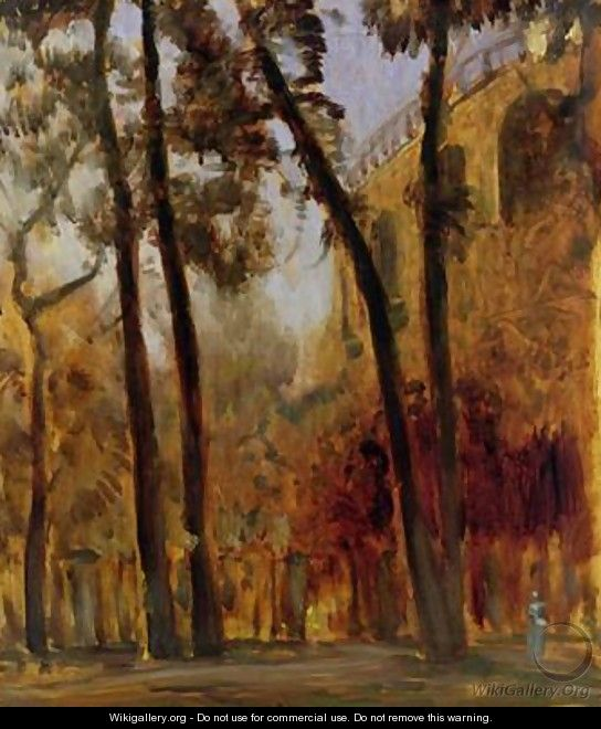 View of the Arcade Wall of the Henschel Gardens from Karlsaue Kassel - Louis Kolitz